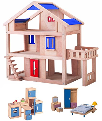 Plan-Toys-Terrace-Dollhouse-with-Two-Rooms-of-Plan-Toys-Dollhouse-Furniture