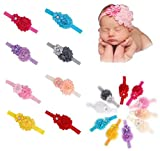 Qandsweet Baby Girl's Headbands Chiffon Hair Flower (10 Pack) (10pcs 3.5x2.3