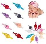 Qandsweet Baby Girl's Headbands Chiffon Hair Flower (10 Pack) (10pcs 3.5x2.3