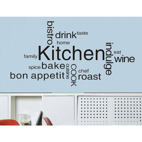 """Colorfulhall 23.6"""" X 47.2"""" Wall Decals Decor Murals Kitchen Quote Wall Saying Lettering Words Vinyl Wall Decal Mural Sticker Drink Wine Cook Taste Diy Pvc Removable Sticker Decal Decoration front-1058449"""