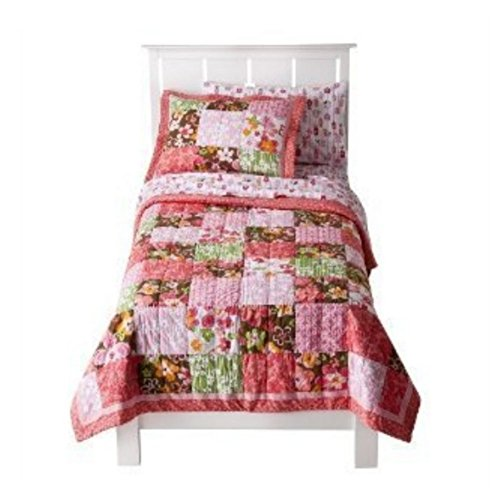 Circo Twin Quilt & Sham Set Coral Brown Patchwork Blossom Flowers front-796537