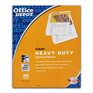 Office Depot Clear Heavy Duty Sheet Protectors, 8-1/2 in x 11 in, 200/Pack - 498-841