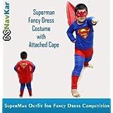 NAVKAR Superman Costume Fancy Dress Outfit Suit Mask Children (7-8) / Superman Kids Costume Wear/ Birthday Party...