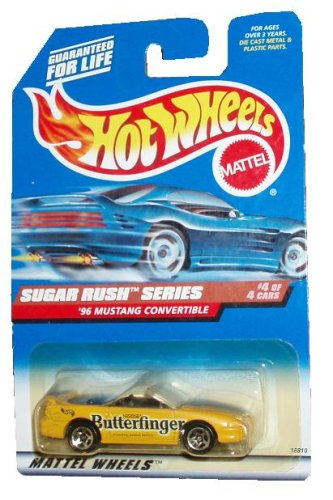 Mattel Hot Wheels 1997 Sugar Rush Series 1:64 Scale Die Cast Metal Car # 4 of 4 - Nestle Butterfinger Yellow Sport Coupe 1996 Mustang Convertible (Collector No. 744)