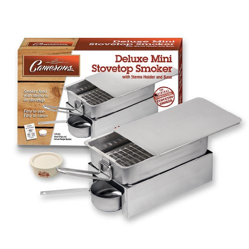 Stovetop Smoker - Deluxe Mini Stovetop Smoker with Sterno, Base and Wood Chips- Works over any heat source, indoor or outdoor (Mini Indoor Oven compare prices)