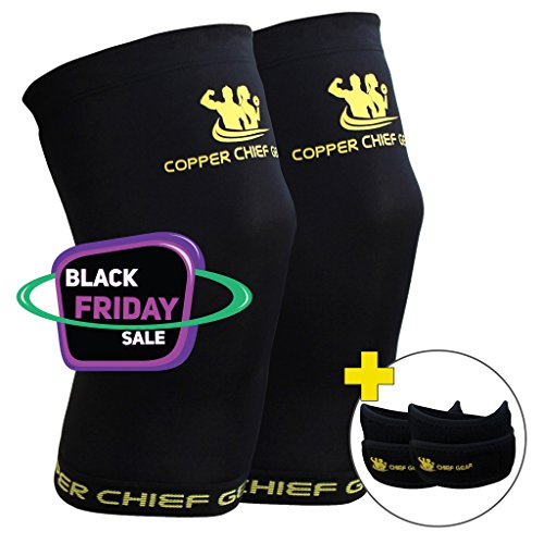 Copper Knee Sleeves (1 Pair) with FREE Patella Knee Braces (1 Pair) - GUARANTEED Best Copper Infused Fit - Compression & Recovery Sleeves - Both Men & Women - by Copper Chief Gear (X-Large)
