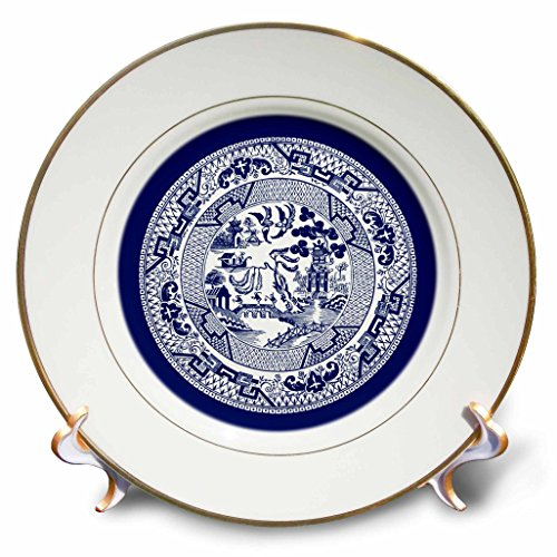 3dRose cp_220439_1 Willow Pattern in Delft Blue and White Porcelain Plate, 8