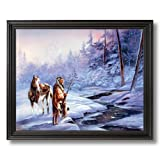 Indian Shadow Of Forest Horse Snow Home Decor Wall Picture Black Framed Art Print