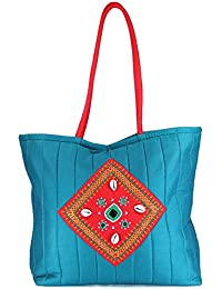 Womens Cottage Blue Cotton Kawadi Patch Work Bag