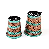 Purpledip Lota Candle Holder (Multicolor) Set Of 2