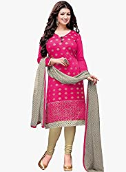 Fabfirki Exclusive Latest Arrival Pink And Cream Dress Material
