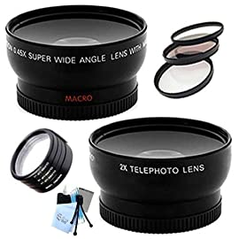 SaveOn Professional HD Wide Angle and Telephoto Lens w/ Adapter + Multi-Coated 3pc Filter Kit + Macro Close-Up Filter Set + Complete Lens Cleaning Kit w/ Microfiber Cleaning Cloth for Canon PowerShot S2, S3, S5 Digital Cameras