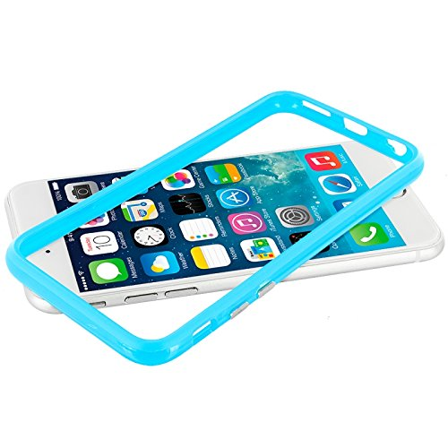 Cell Accessories For Less (Tm) Baby Blue Tpu Bumper With Metal Buttons For Apple Iphone 6 (4.7) + Bundle (Stylus & Micro Cleaning Cloth) - By Thetargetbuys front-674242