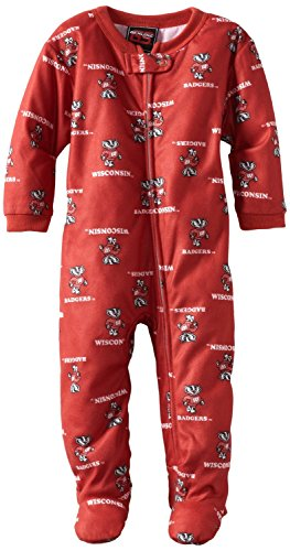 Ncaa Wisconsin Badgers Infant Full Zip Raglan Coverall (Red, 18Mo) front-1009575