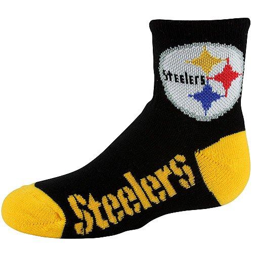 NFL Pittsburgh Steelers Youth Logo Quarter Socks - Black/Gold