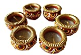 Art With Emphasis Traditional Paisley Shaped Terracotta Diya with Wax (Set of 6)