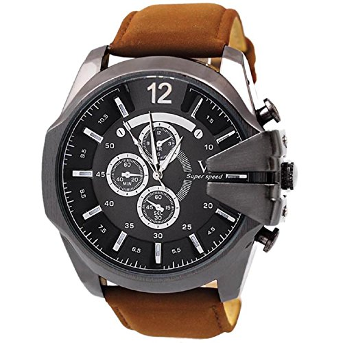 Malloom® hombres la moda de lujo analógico deporte Caso de acero cuarzo marcar cuero de la PU reloj de pulsera Marrón + Negro