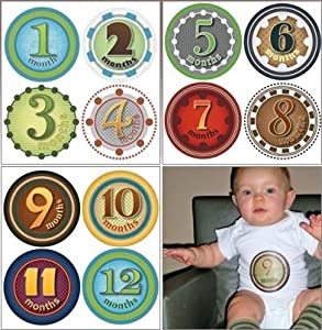 Picky Sticky Baby Photo Monthly Onesie Stickers (Mister Fister)