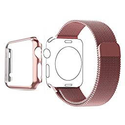 Apple Watch Band, Biaoge Steel Milanese Loop Replacement Wrist Band with Plated Case for Apple Watch Series 1 only 2015(Rose Gold 42mm)