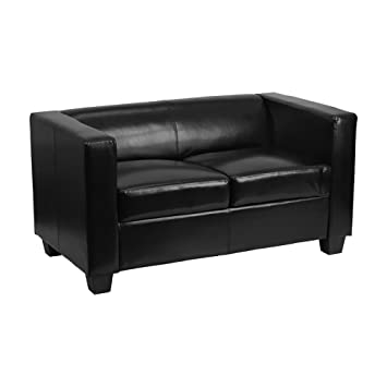 Flash Furniture Prestige Series Black Leather Loveseat