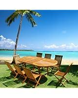 Salon de jardin teck huilé 8/10 personnes - Table ovale larg 100 cm long 180/240cm + 8 chaises pliantes