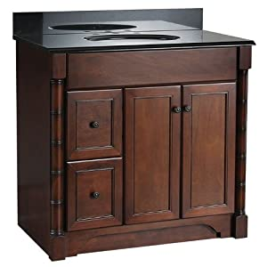 Foremost esna3621dl estlin 36 inch bath vanity left side - Bathroom vanity with drawers on left ...