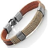 "Dark Brown Leather Wound-around Nature Thread Bracelet for Him and Her, Unisex, 100% Genuine Leather, 8"""