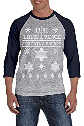 Ugly Hanukkah Sweater RAGLAN Funny Ugly Sweater Shirt Holiday Tee from Crazy Dog Tshirts