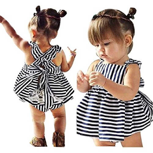 Gotd Baby Girls Sunsuit Outfit Stripe Backless Dress + Brief Infant Clothes (9Months, Navy)