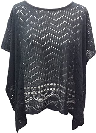 Ladies Fine Knit Batwing Crochet pattern knitted Top/Cape ...