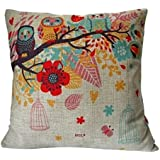 "HOSL Cotton Linen Square Decorative Throw Pillow Case Cushion Cover Owls with Birdcage 18 ""X18 """