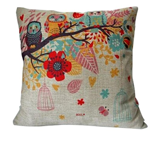 Why Should You Buy HOSL Cotton Linen Square Decorative Throw Pillow Case Cushion Cover Owls with Bir...
