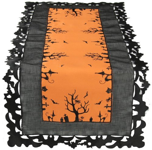 Embroidered Halloween Table Runner