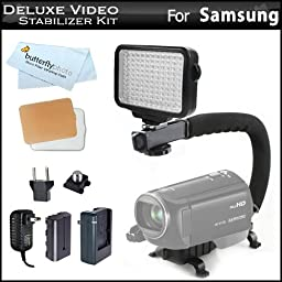 10-Piece Pro 120 LED Dimmable On-Camera LED Video Light Kit with Battery, Charger, Diffusers Case + Professional Camera / Camcorder Action Stabilizing Handle For Samsung HMX-F80, HMX-Q20, HMX-H300, HMX-QF20, HMX-F90, HMX-QF30 HD Camcorder