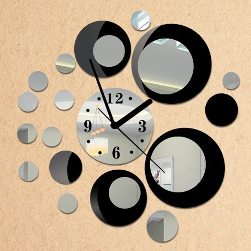 Toprate® Black and Silver Rounds Wall Clock Mirror Wall Clock Modern Design Removable DIY Acrylic 3D Mirror Wall Decal Wall Sticker Decoration image