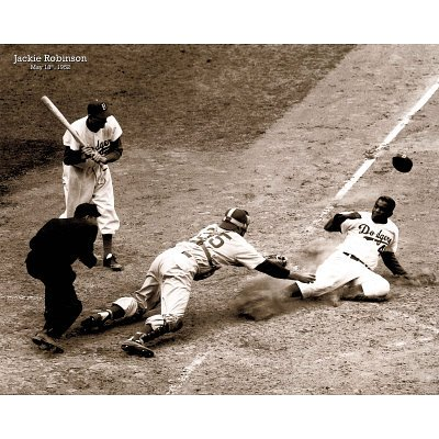 16x20 Jackie Robinson Stealing Home Sports Poster PrintB0000YPYSO