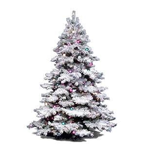 3 ft. PVC Christmas Tree - Flocked White on Green - Alaskan Pine - 100 Multi-Color Dura-Lit Lights - 116 Tips - Vickerman A806342