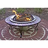 Asia Direct Catalina Creations, Glass Mosaic Fire Pit with Gorgeous Blue Glass Tiles, Durable Stainless Steel Fire Bowl and Elegant Stand Design