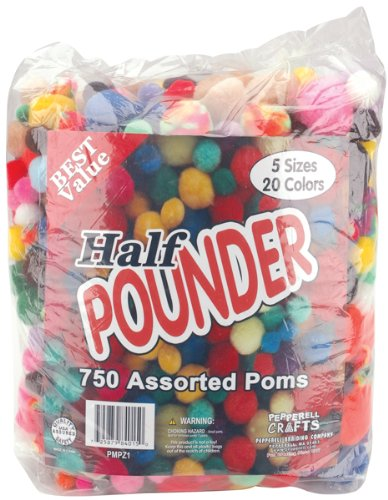 Pepperell Craft Making Assorted Pom Poms, Standard Colors, 750 Per Package