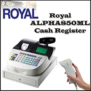 Royal ALPHA850ML 200 Department Cash Register With Royal Machines PS700 Hand-Held Bar Code Scanner/Bar Code Reader with 1-Inch Scan Distance