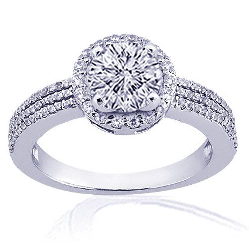 1.40 Ct Round Halo Diamond Engagement Ring Pave 