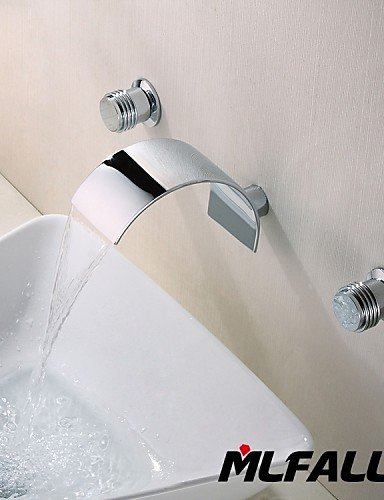 Tap Three Holes Contemporary Wall Mount Waterfall 3 Pieces Italian Style Wash Basin Faucet,Durable Material construction,Easy to install (Brass Washing Machine Y Piece compare prices)