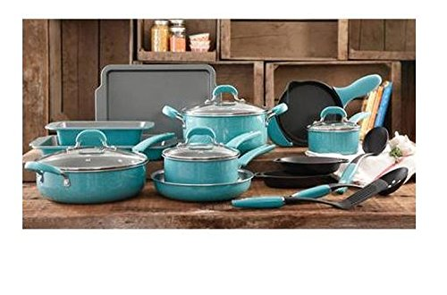 The Pioneer Woman Vintage Speckle 20-Piece Blue Cookware Pans Pots