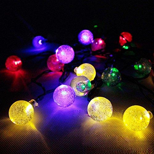 Ball String Christmas Lights : E-Light 20 Crystal Ball Outdoor Christmas String Lights Solar Powered for New eBay