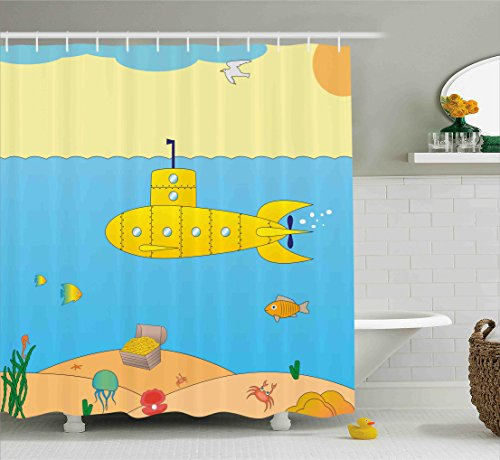Under the See - Yellow Submarine Shower Curtain Set