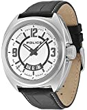 Police Gambler Men's Quartz Watch with Silver Dial Analogue Display and Black Leather Strap 13404JS/04