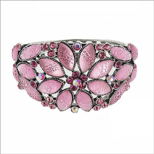 JOA Trendy Stone Flower Design Hinged Bracelet #037959