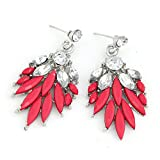 Cinderella Collection by Shining Diva Silver & Pink Coloured Bead Hanging Earrings for Women 7018er