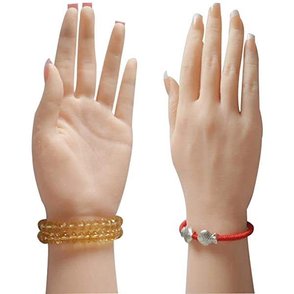 1 Pair Bendable Female Silicone Hand Mannequin Model For Jewelry Display,Nail Art Practice Hand Model