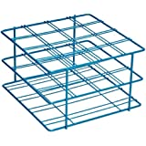 "Bel-Art Scienceware 187940001 Blue Epoxy-Coated Steel Poxygrid 50mL Centrifuge Tube Rack, 6-1/8"" Length x 5-7/8"" Width x 3-1/2"" Height, 16 Places"